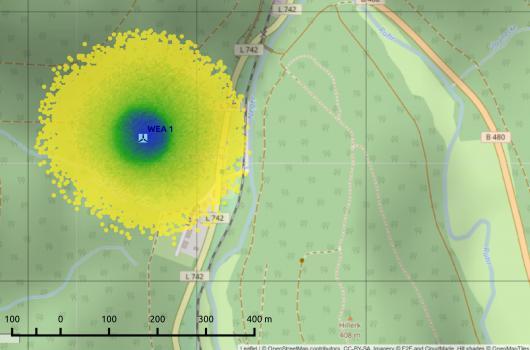 Trefferhäufigkeiten für Eisstücke in der Umgebung einer WEA ohne Berücksichtigung der Orografie des Geländes