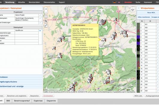 Screenshot wake2e mit WEAs aus dem Marktstammdatenregister