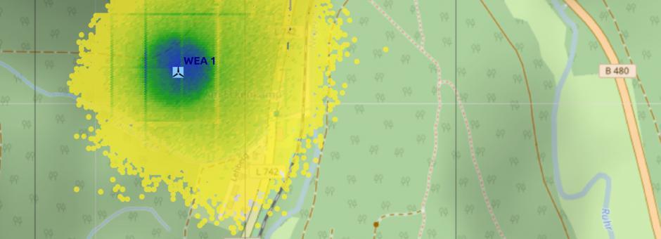 Trefferhäufigkeiten für Eisstücke in der Umgebung einer WEA unter Berücksichtigung der Orografie des Geländes